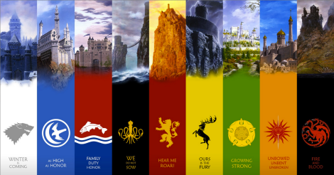 All the major houses homes, mottos, and sigils. Credit to Alura Vine.