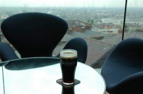 DUB Dublin - Guinness Storehouse and Brewery museum - pint of Guinness with view in Gravity Bar 3008x2000